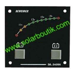 Voltmetre 12V 2 Batteries LED Gamme Visu SCHEIBER