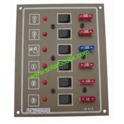 Tableau 12/24v 6 circuits à fusibles Scheiber 38.10412.21