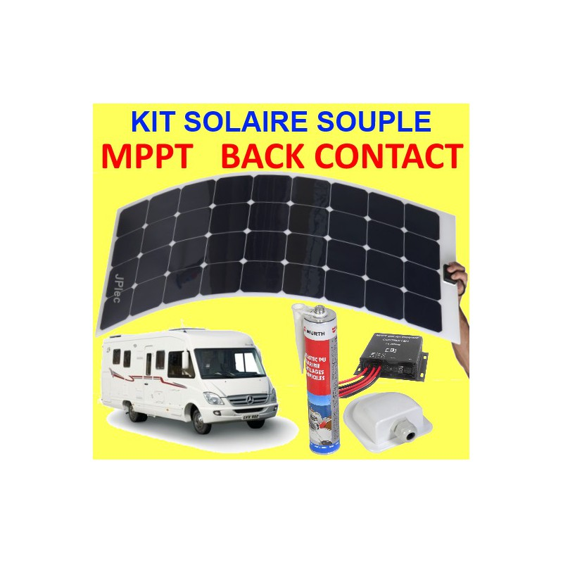 kit solaire souple back contact et mppt 120w pour camping car. Black Bedroom Furniture Sets. Home Design Ideas