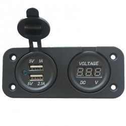 Prise USB avec Voltmètre