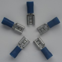 COSSE A SERTIR 6.35mm bleu FIL 1.5 à 2.5mm² par 5 pièces