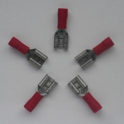 COSSE A SERTIR 6.35mm rouge FIL 0.5 à 1mm² par 5 pièces
