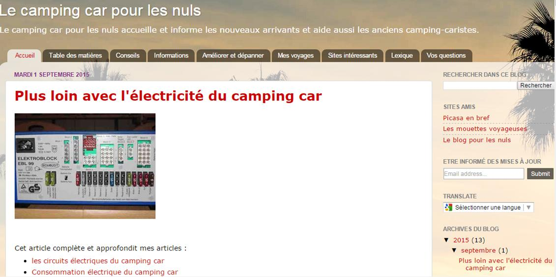 Le camping car pour les nuls